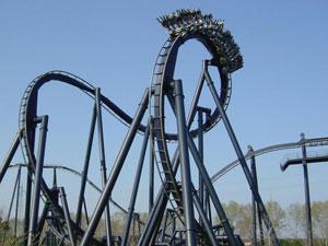 Dettaglio sull'inverted coaster Katun di Mirabilandia